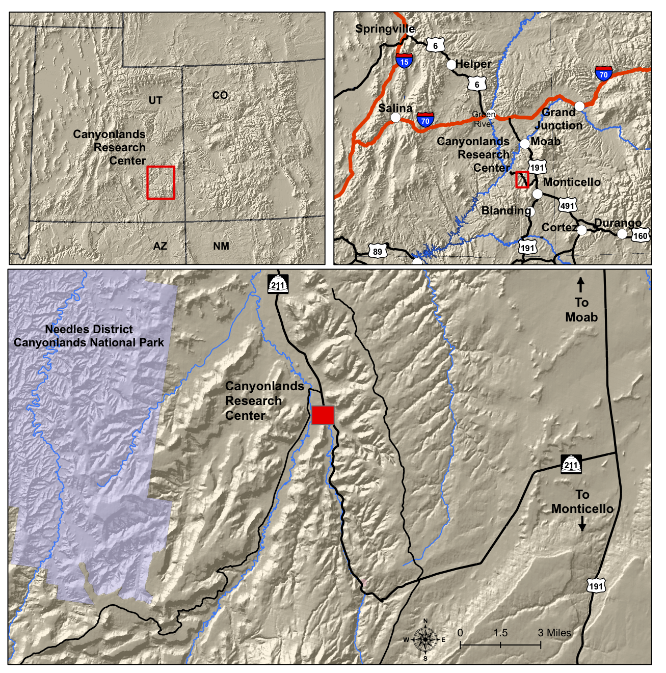 map directions for driving to Canyonlands Research Center